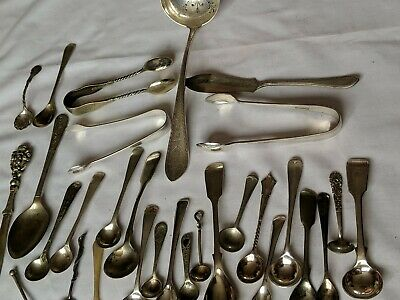 Georgian/Victorian Silver Plated Mustard/salt  tong& others Spoons 33pcs
