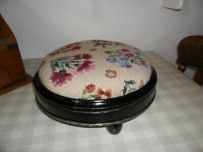Antique / Vintage Black Ebonised Foot Stool With Metal Band Trim / Tapestry Top