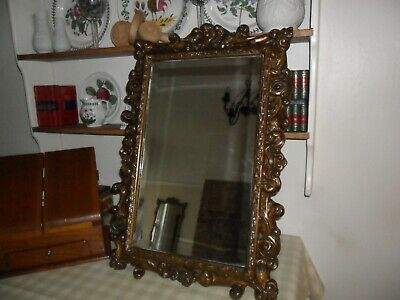 Antique Carved Wood & Gesso Ornate, Bevelled Edge Mirror,Top Cherub Detail