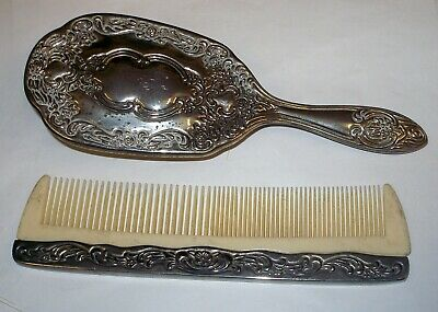 Vintage Vanity Set Silver Tone Hair Brush & Comb Set Dressing Room