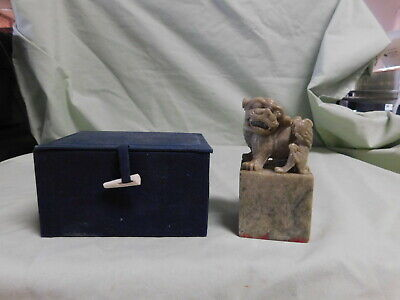 RARE Lg  SOAPSTONE CHINESE  FOO DOG CHOP SEAL