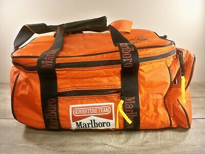 Vtg Marlboro Adventure Team Advertising Can Cooler Red Travel Bag Duffle Pack
