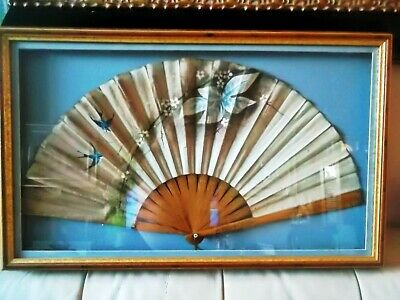 Antique Japanese silk Hand Fan carved wood