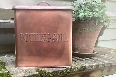Large Solid Copper POTTING SOIL Covered Can ... Pottery Barn or Smith & Hawken