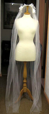 Vintage Bridal Veil With Fitted Hairband Headdress White With Flowers & Lace **