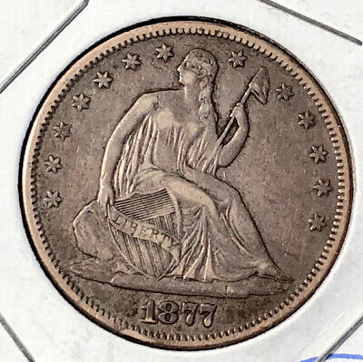 1877-S Seated Liberty Silver Half Dollar Better Grade VF Very Fine US Coin LOoK