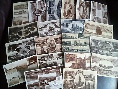 A Job Lot of 20 Vintage Multiview Postcards - All have faults