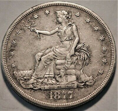 1877 S Trade Silver Dollar, Higher Grade, Better Type Coin, Nice Looking T$1