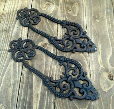 Pair Antique Victorian Reclaimed Cast Iron Decorative Panels