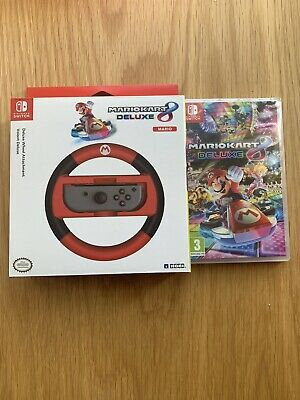 Mario Kart 8 Deluxe with Driving / Racing Wheel Nintendo Switch - New And Seales