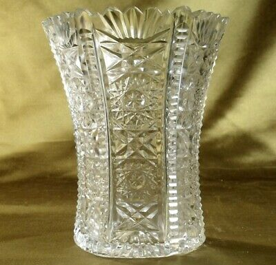 ANTIQUE CUT LEAD CRYSTAL GLASS VASE amazing profusely hand cut very pretty