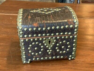 Antique Leather Covered Document Box with Brass Rivets