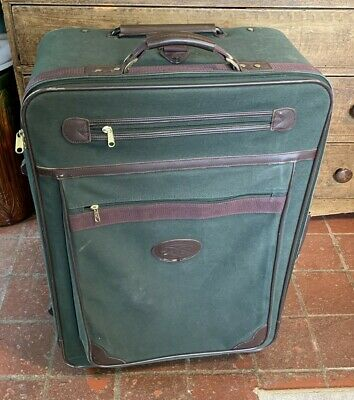 Large Orvis Battenkill Roll-a-Case Suitcase Green Canvas and Brown Leather