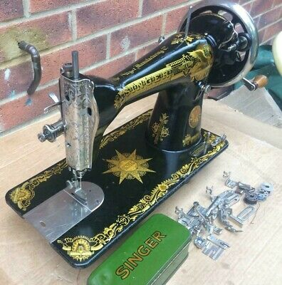 """Rare Singer 15, 15K Sewing Machine """"Sphinx Indian Star"""" Decals with accessories."""