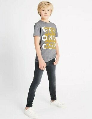 BNWT boys age 9-10 years Marks and Spencer Cotton Skinny Leg Grey Stretch Jeans