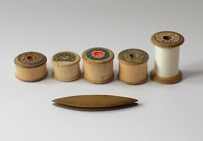 5  Vintage Antique Wooden Cotton Reels, Bobbins & Small Tatting Shuttle. Treen