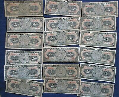 Lot of 18 1967 Mexico 1 Peso Banknotes Circulated