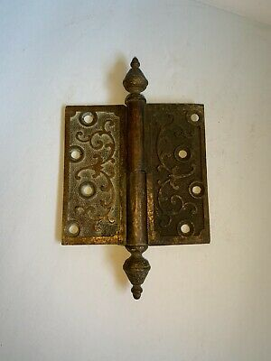 1 Antique Floral Victorian Brass Door Hinge patented Jan 18, 1870