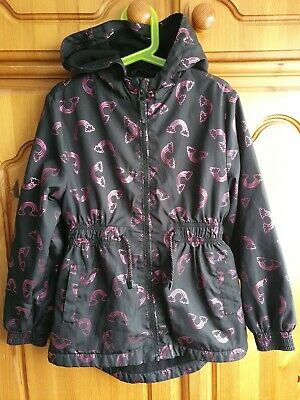 Girl's George Size Age 8-9 Years Black & Pink Rainbow Hooded Fleece Lined Jacket