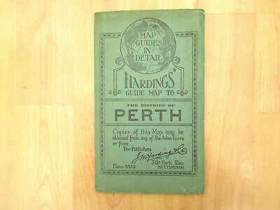 Antique 1926 Map Hardings' Guide Map To The District of Perth (Scotland)