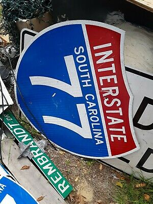 "Real road,street, Interstate 77 sign.36x36"" Aluminum. Used. Last one available."