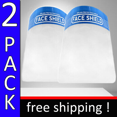 Safety Face Shield Clear 2 Pc Proof Anti Fog Protector Work Industry Full Face