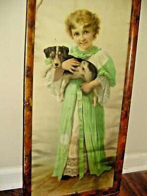 VICTORIAN 1895 Lithograph w/original Frame Child and Puppy Playmates Antique VTG