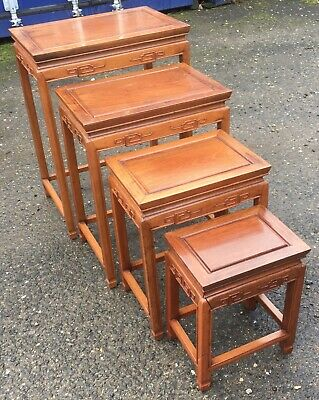 Chinese Nest Of Hardwood Coffee Lamp Tables