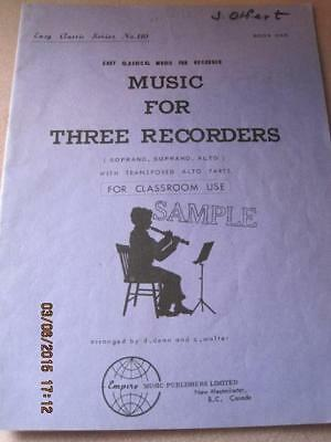 MUSIC for THREE RECORDERS Easy Classical  No. 110 Song Book 24 pg 1968 Sample