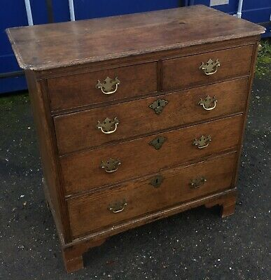 Period Antique Oak Chest Of Drawers Draws Of Small Proportions