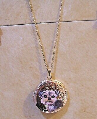 "hand painted Yorkie on  locket pendant necklace 16"" gold beaded metal chain"
