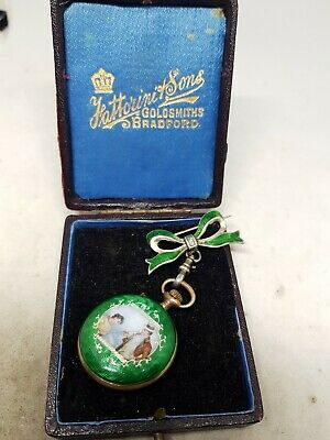 Stunning Antique Enamel Fob Pocket With Silver Bow watch C1900 Ref1100