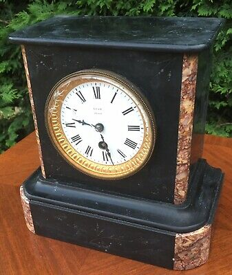 antique Marble Slate Mantel Mantle Clock French Paris Love