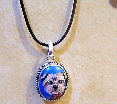 hand painted Yorkie on genuine stone pendant necklace black cord with extension