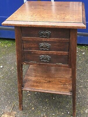 oak arts and crafts Bedside Ocassional Table