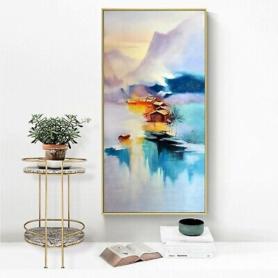 """Abstract Art Watercolor Ink Painting Silk Canvas Poster Decor Unframed 16""""x32"""""""