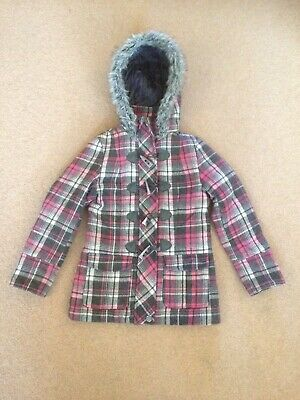 Girls warm pink and grey check hooded coat age (small)10/11  Primark