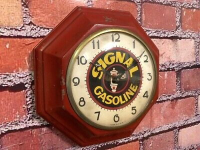 Rare Vtg Gilbert Old Signal Gas Station Advertising Display Wall Clock Sign Gulf