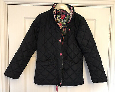 Joules Girls Blue Quilted Coat With Floral Lining Age 9-10 VGC