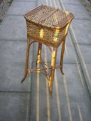 Vintage Wicker Sewing Box on 4 Bamboo Legs. 73cm tall. Manufactured in England
