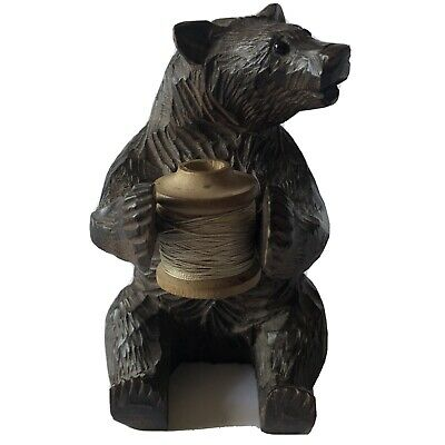 Antique Black Forest Bear holding a Thread Spool holder Sewing