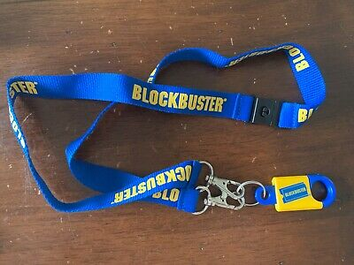 Vintage Blockbuster Video Lanyard w/ Keychain - blue/yellow