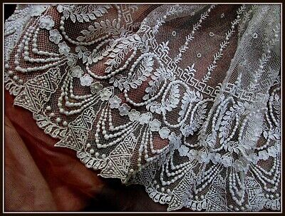 Exquisite Antique Edwardian French Tiny Dense Bobble Wreath Wedding Lace Flounce