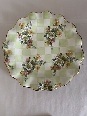"Mackenzie Childs Honeymoon Sweet Pea Green Check GOLD Edge 11.25"" Dinner Plate"