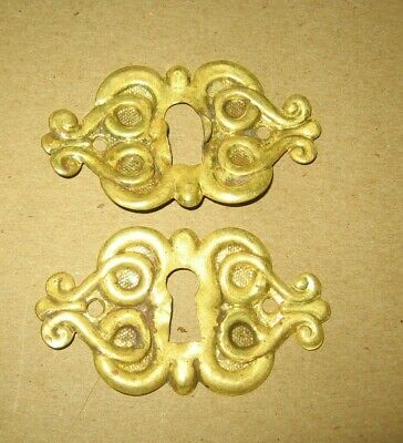 2 Stamped Brass Key Hole Escutcheon Covers Architectural Savage~Stock Part p