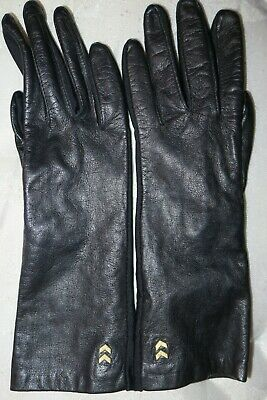 Used Womens Lady's Black Leather Gloves Long Size S/M