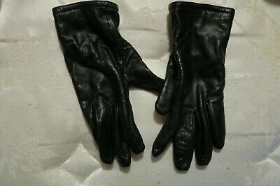 Used Womens Lady's Black Leather Gloves One Size