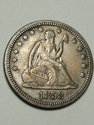 1858. Seated Quarter  **Free Shipping**