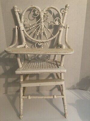 """ANTIQUE WICKER VICTORIAN STYLE DOLL HIGH CHAIR 23"""" Wood Beads"""