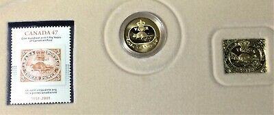 Canada 2001 3¢ Sterling Silver 150th Anniversary Postage Stamp Coin & Stamp set.